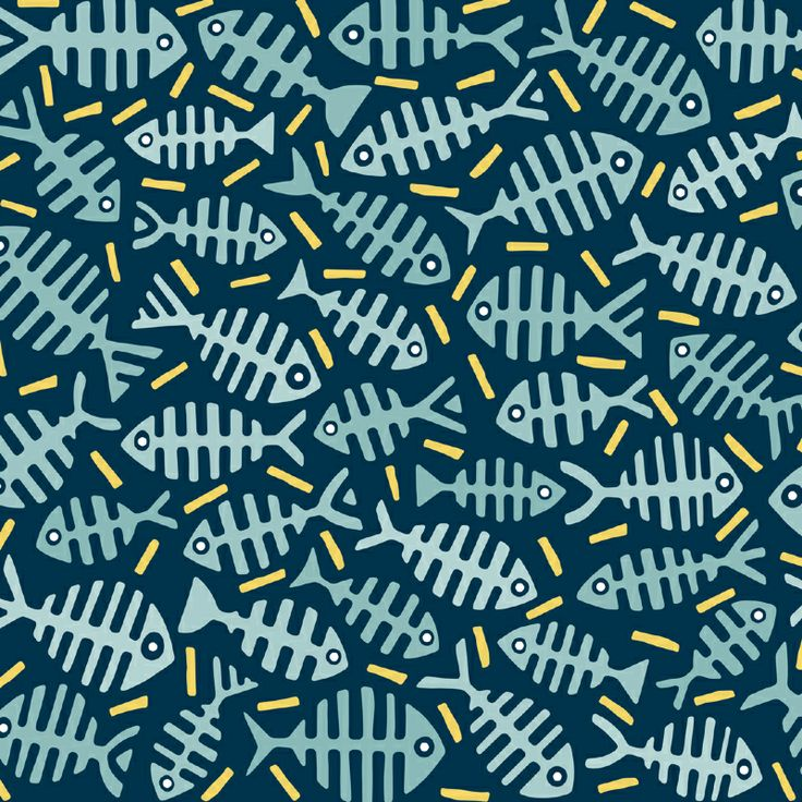 Fishbone-Pattern with light-blue fishes on dark blue ground, surrounded by yellow lines.
