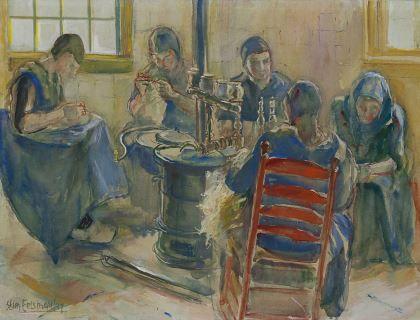 Christiana 'Stien' Eelsingh (Zwolle 1903-1964 Meppel) Doing needlework around the stove, Staphorst