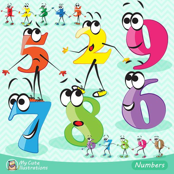Character numbers clipart, numbers clipart, Scrapbook supplies PNG, comercial use