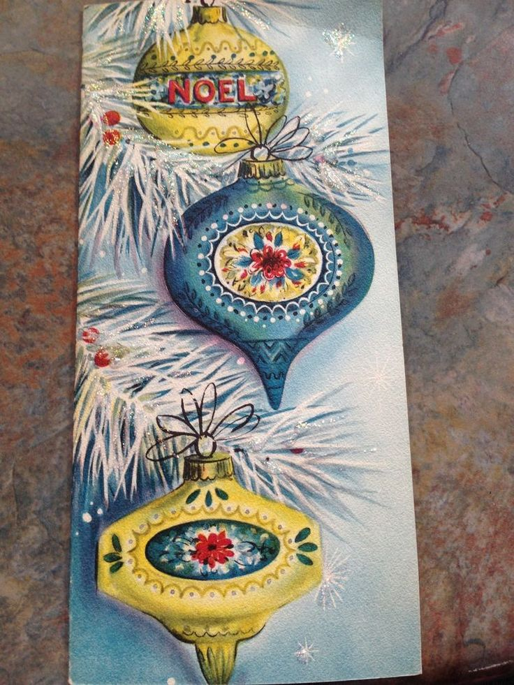 Vtg Unused Hallmark Christmas Card Atomic Ornament NOEL Turquoise Glittter  50's