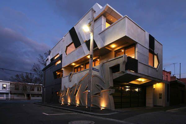 Dynamic Urban Home Exposing 4 Meter High Graffiti Elements: Dreams, Hiphop, Graffiti, Itn Architects, Modern Architecture, Hip Hop, Hives Apartment, House, Design Blog