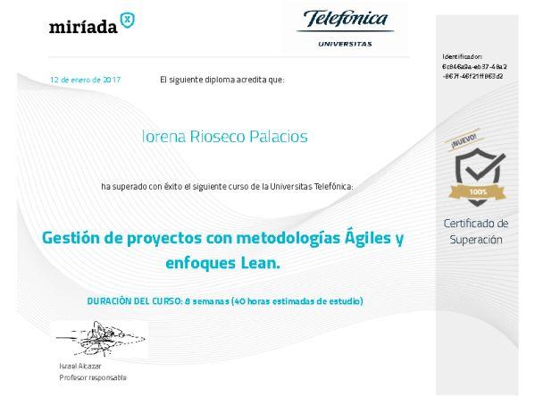 Diploma de superación en Curso Gestión de proyectos agiles y enfoques Lean