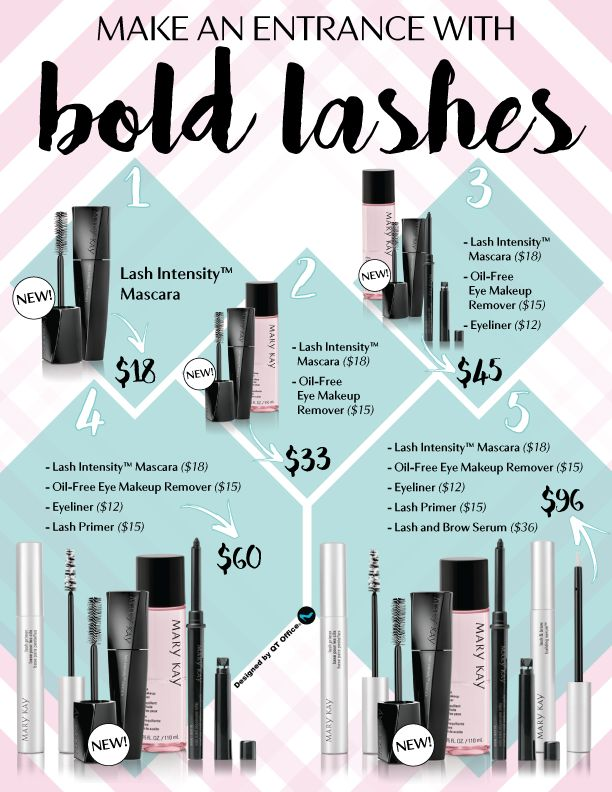 Mary Kay® has big news for even bigger lashes! Download this FREE flier that QT Office has put together for you to show your customers the best deals they can get with Mary Kay's® NEW Lash Intensity Mascara™ and the many sets for the best lashes. Be bold when you sell and even bolder with …