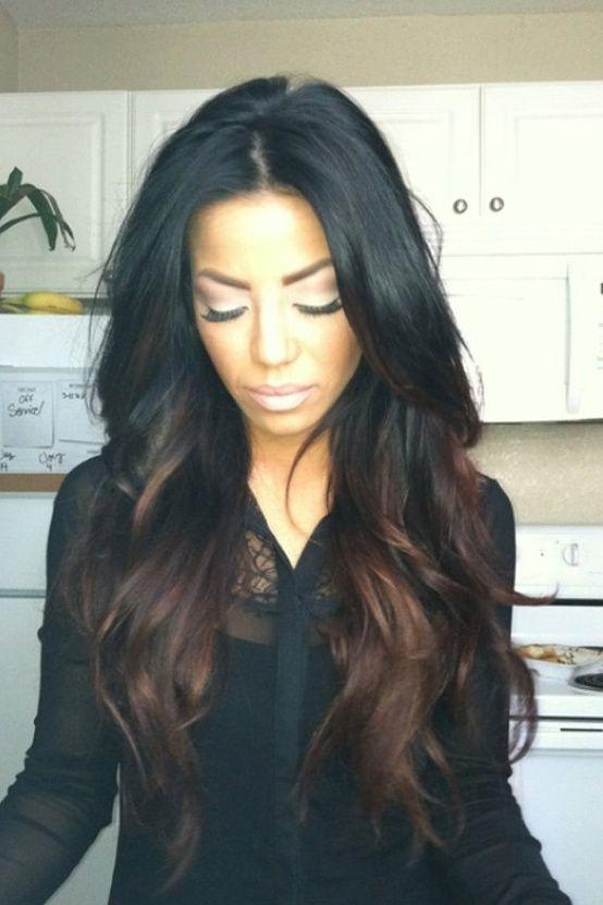 CHOCOLATE LATTE brunette black base ombre / hair dye/ hi lights/ boho hippie hair/ clip-in hair wefts/  (6) human hair extensions. $72.00