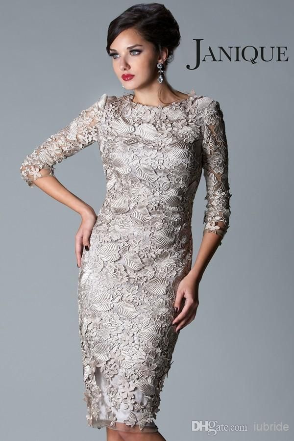 Awesome  New Style Mother of the Bride Dresses Sheath SIlver Gry Lace Sleeve Jewel Neck Knee Tea Length Mother Groom Dresses Evening Prom Gowns