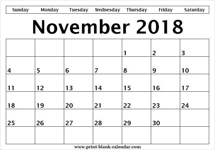 Blank Editable Calendar November 2018 Sheet Printblank Calendar