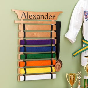 Personalized Karate Belt Display Rack - Martial Arts $45.95 I think I could make this cheaper, yes?
