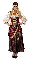 Piratenkostüme, Piraten-Accessoires, Piratenkostüm Set. Rot-weiß-braun-goldfarbenes Piratenbraut-Kostüm Set bestehend aus Kleid, Gürtel, Kopftuch und Gypsy-Kette.