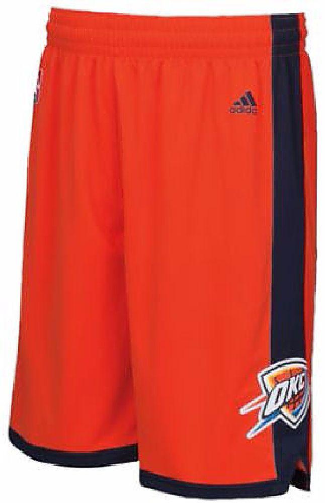 NBA Oklahoma City Thunder Orange Embroidered Swingman Shorts By Adidas $64.95