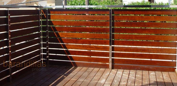 Barandilla en madera listones de iroko de 100x10 anclados - Barandilla madera exterior ...