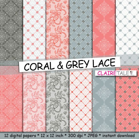Lace digital paper: CORAL & GREY LACE with coral by ClaireTALE