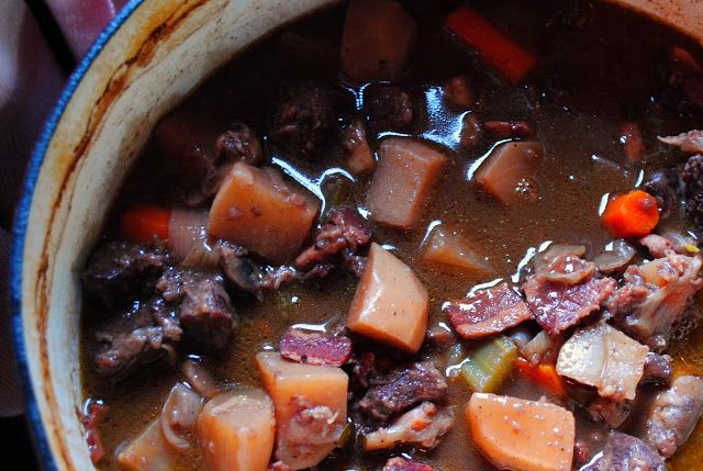 Braised Venison Stew in a Red Wine and Bitter Chocolate Sauce