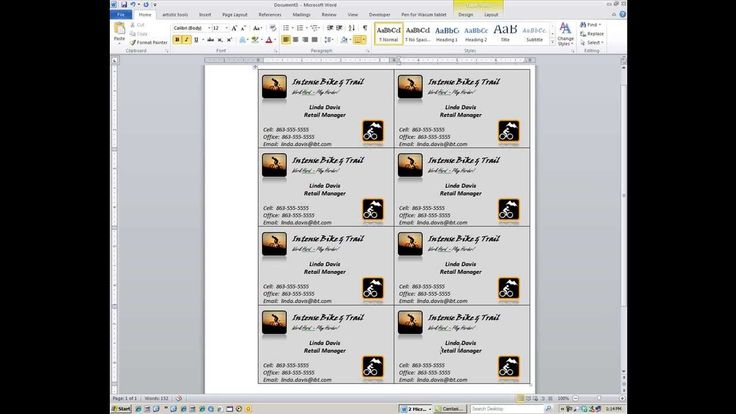Word: How to create custom business cards