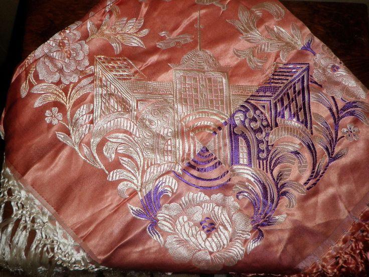 Vivid WWII Taj Mahal Silk Brocade PIANO SCARF Shawl Tablecloth 40's  12 AIRPLANE…