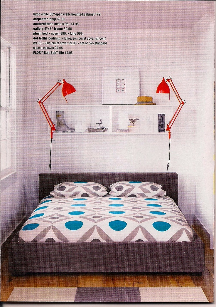 Small Bedroom Idea: Shelves Above Instead Of Bedside Table