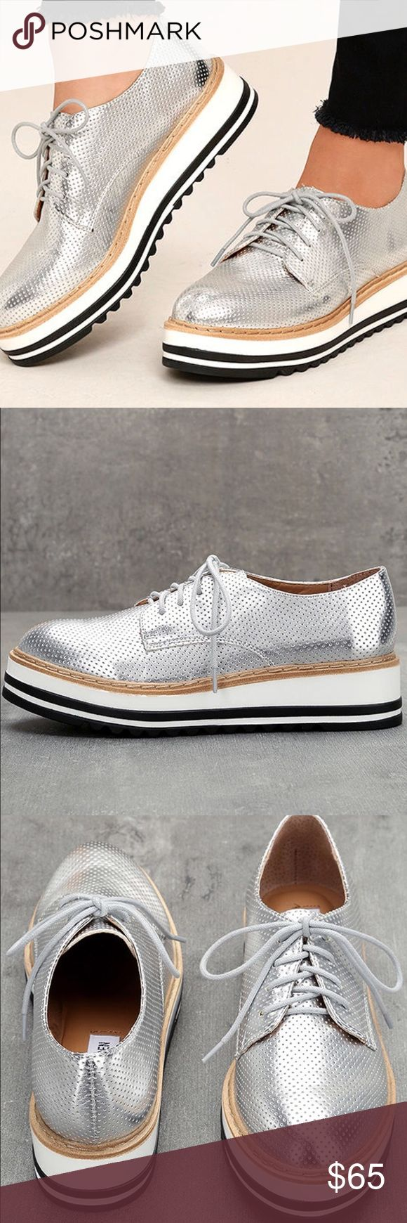Steve Madden Vassar Silver Platform Sneakers Cushioned insole rubber sawtooth sole and the most amazing on trend shoes! Worn once for indoor photo shoot Steve Madden  Shoes Sneakers