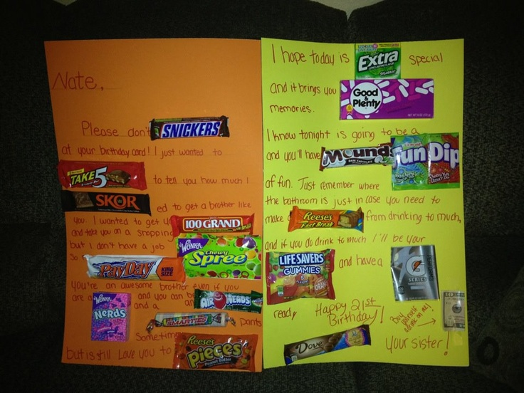 Birthday Gift Ideas Brother In Law 23 Best Images About Candy Card On Pinterest