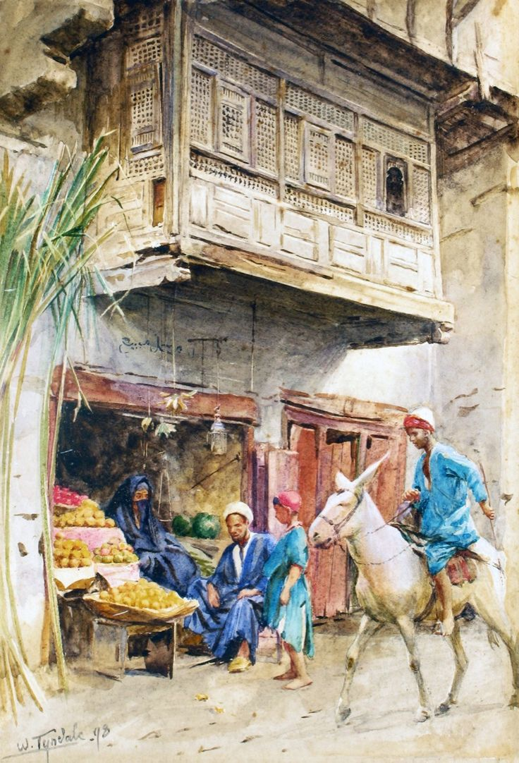 Art farm animal watercolor painting on canvas art 8x10 artsyhome - The Stall Of Widow Um Hussein By Walter Tyndale