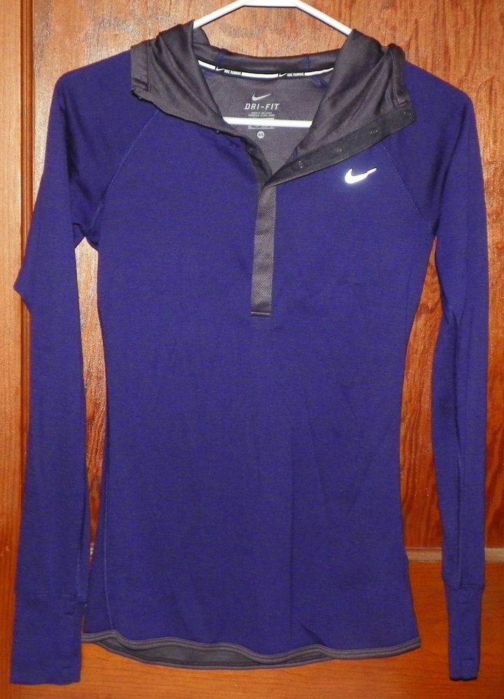1f6461589905 Nike Dri Fit Purple Gray 1 2 Snap Hooded Running Athletic Jacket Size XS   Nike  RunningJacket