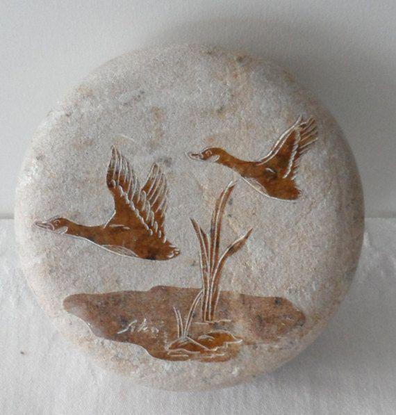 Vintage Inuit Made Round Sandstone Trinket Box/Etched Flying Geese Keepsake Box/Looks Signed By Artist/Heavy Sandstone Trinket Box
