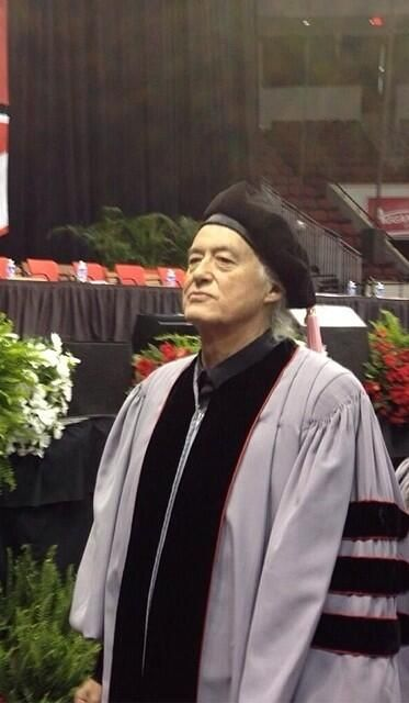 Jimmy Page at the Berklee College of Music Commencement Ceremony in Boston, May 10, 2014.