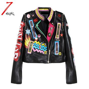 Plus size 2016 Fashion Autumn Women Punk Heavy Metal Street Short Leather Jacket Black Zipper Rivet