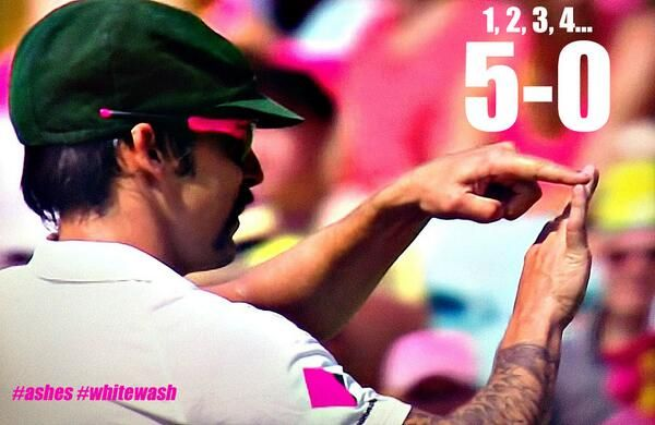 Mitch Johnson telling the Barmy Army 1 2 3 4 and now 5 - 0
