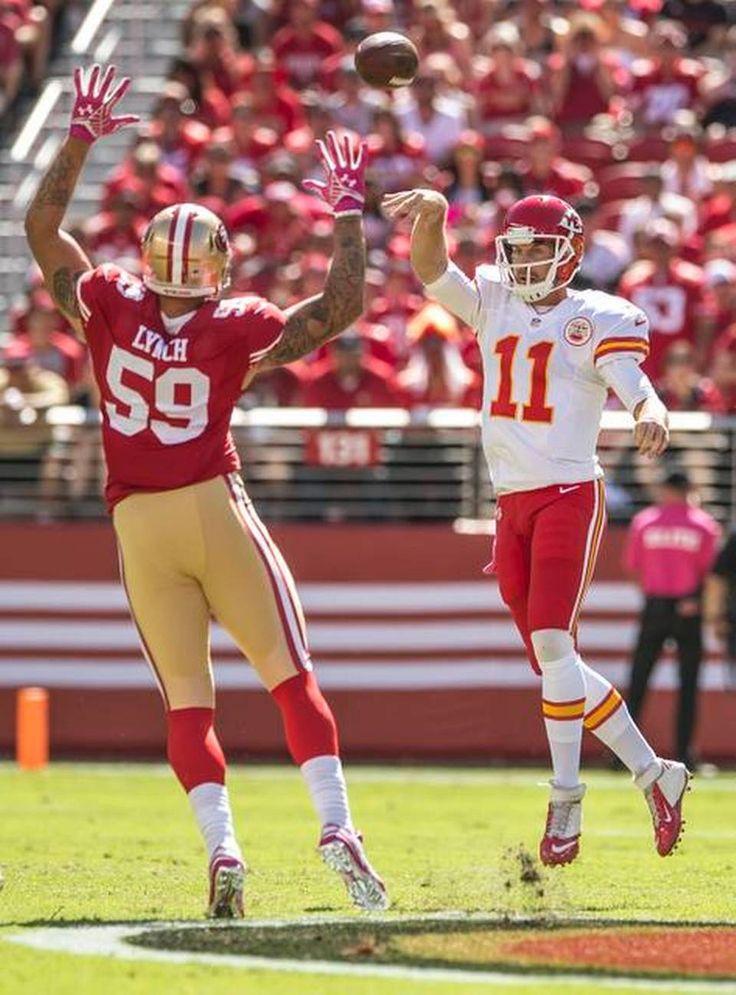 Kansas City Chiefs quarterback Alex Smith (11) threw a pass over San  Francisco 49ers
