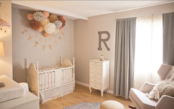 Paint Color Glidden Smooth Stone.    Used Overstock signature Grey Blue Velvet 84 in Blackout Curtain Panels, Layla Grace Matteo Tat Crib Set in greige, Etsy Pom+Love in white, peach, coral, and brown.