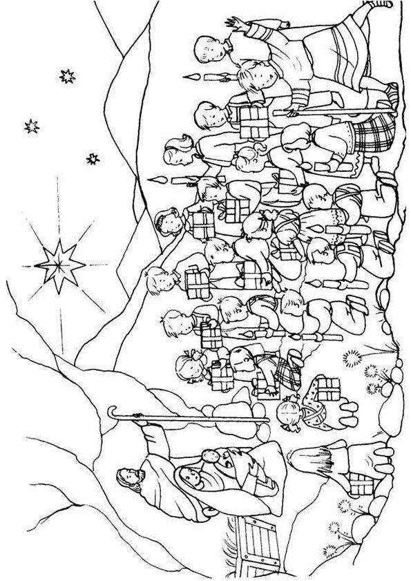 Coloriage du dessin illustrant des enfants qui apportent des cadeaux à Jésus et d'autres qui allument des cierges