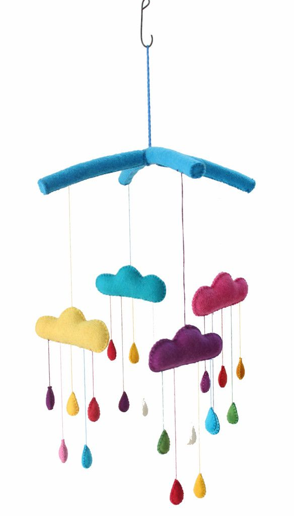 Colorful raindrops fall from colorful clouds in this felt baby mobile, handmade in Kyrgyzstan from locally sourced sheep's wool. It slowly spins on its own and makes a lovely decoration in a …