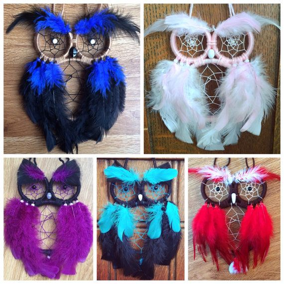 This listing is for a custom owl dreamcatcher, the photos are examples of color pallets. Choose what coloring you would like and let me know in the notes or messages. If I do not receive a message with the colors you would like within 24 hours I will use the neutral color pallet shown