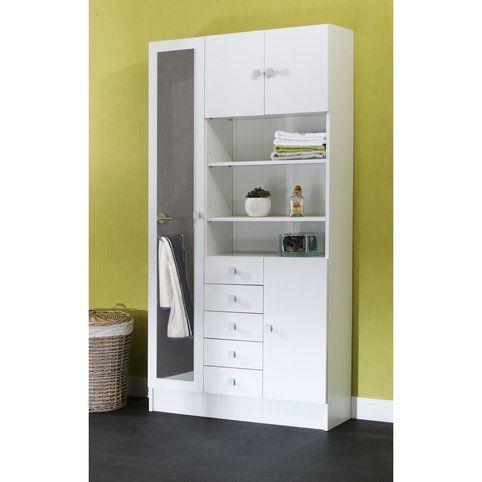 Armoire salle de bain 3 portes 1 porte avec miroir 3 niches 5 tiroirs ROBBE - 3Suisses