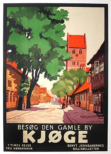 """A town poster of the harbour town Køge: """"Visit the old town Køge""""! The harbour town. visitdenmark.com/south-zealand #danishtowns #denmark #travel"""