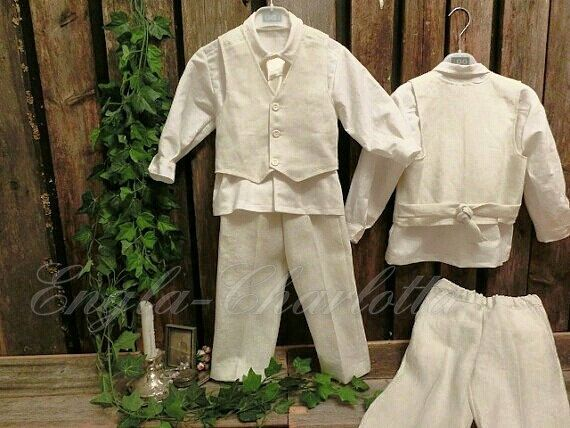 Ivory ring bearer outfit.Boys linen by englaCharlottaShop on Etsy