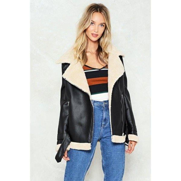 Nasty Gal High Flyer Aviator Jacket (510 BRL) ❤ liked on Polyvore featuring outerwear, jackets, black, asymmetrical zipper jacket, vegan jackets, fake leather jacket, aviator jacket and faux leather aviator jacket