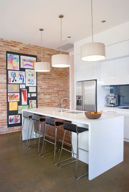 Mikayla Rose Interior Designer. Love the large downlights and the contrast of white kitchen with exposed brick.