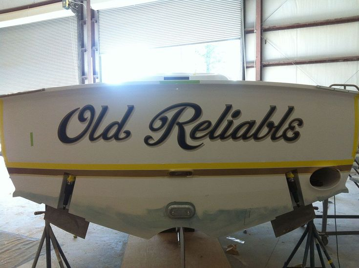 #TRANSOM: Old Reliable, Winter Custom Yachts Apex North Carolina #Boat #Transom #BoatTransom  TRANSOM #TECHNIQUE: #CustomBoatLettering   #BOAT #BUILDER #BoatBuilder: #WinterCustomYachts, #Apex, #NorthCarolina