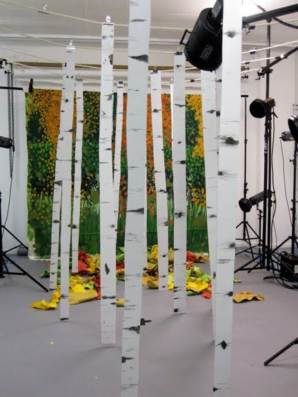 birch trees made out of foam core