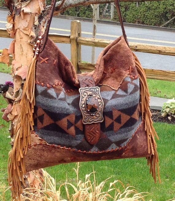 Fabulous Pendleton Wool & Distressed Lambskin Leather Handbag by DoubleJOriginals, $275.00
