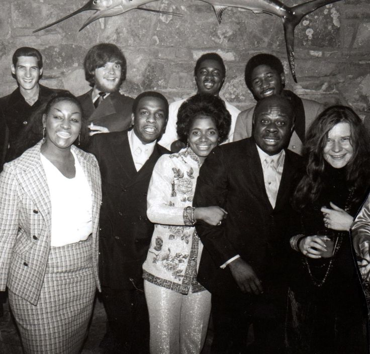 Janis Joplin, Steve Cropper, Duck Dunn, Carla Thomas and Rufus Thomas at a Stax Christmas Party, Memphis 1969