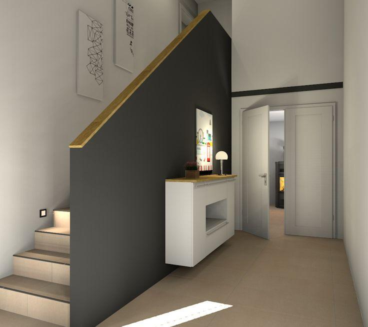 Eingangsbereich mit Blick ins Wohnzimmer http://www.fliesenmax.de/homes-by-x/newsdetails/news/die-treppe-fliesen-130.html