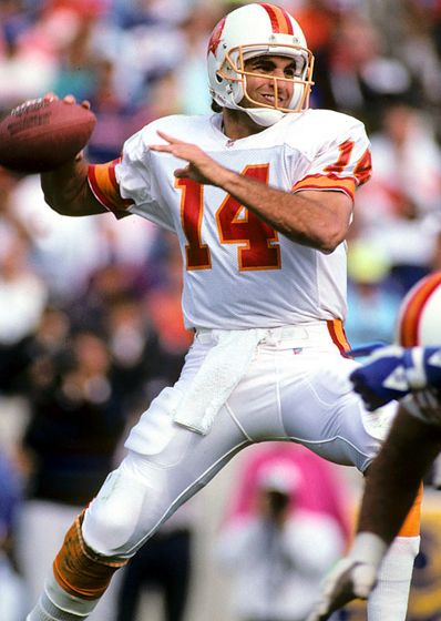 Vinny Testaverde - Tampa Bay Bucs QB during the late 80's and early 90's. The city of Tampa treated him like garbage during his tenure with the Bucs. Fortunately he revived his career with the Ravens and Jets later on.