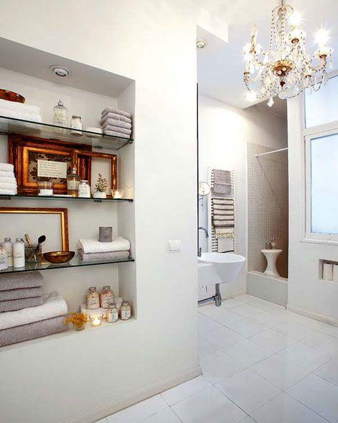 Modern eclectic white bathroom