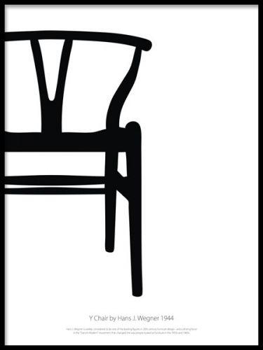 """Y chair blackandwhite poster. Grafisk poster med svartvit designstol. Grafisk svartvit poster med den klassiska Y-stolen, """"Y chair"""" av Hans J Wegner. Tavla med stilren skandinavisk design att pryda väggen med. Skapa ett tavelcollage på väggen med våra snygga affischer med designstolar."""