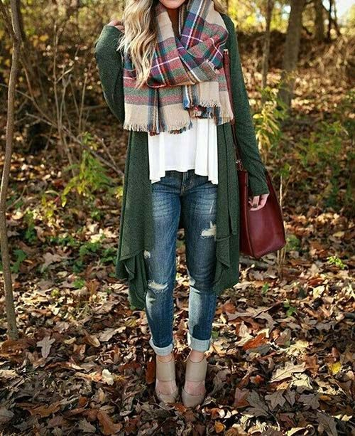 plaid-scarf-green-cardigan-outfit- Ankle boots outfit ideas http://www.justtrendygirls.com/ankle-boots-outfit-ideas/