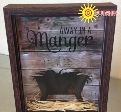 How to make your Away in a Manger Shadow Box: You will need: * Shadow Box * Raffia * Paper (I used wood plank looking paper. You ca...