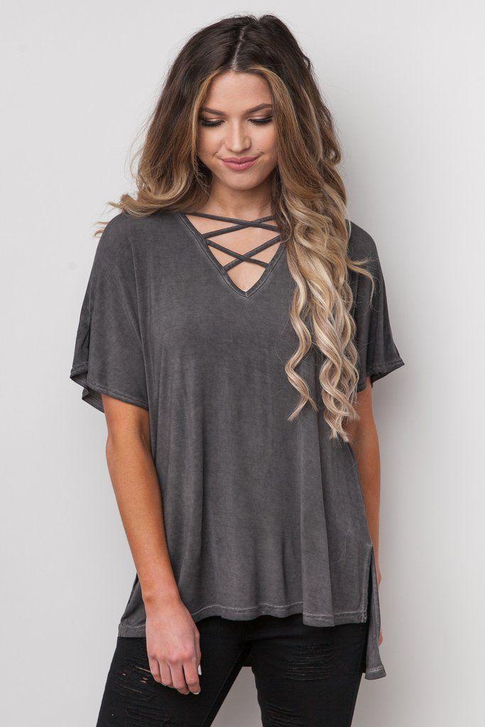 Acid-wash criss cross flutter sleeve t-shirt tee