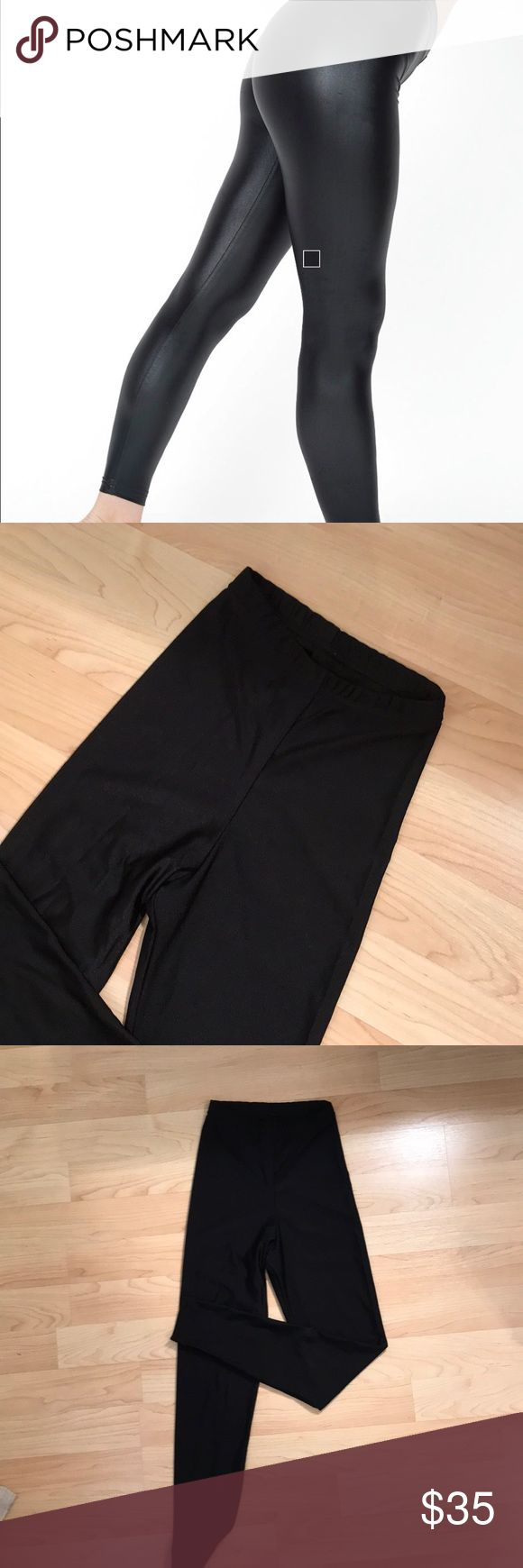 American Apparel High waisted shiny leggings High waisted shiny leggings by American apparel size XS. I LOVE these but grew out of them unfortunately. You can wear them with a big sweater and boots or even flats and they are a bit more stylish than regular leggings. They hit above the belly button. American Apparel Pants Leggings