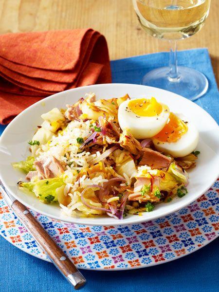 Kalorienarme Reispfanne für den Abend